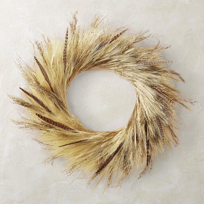 "Corn Husk and Pheasant Feather Wreath, 30"""