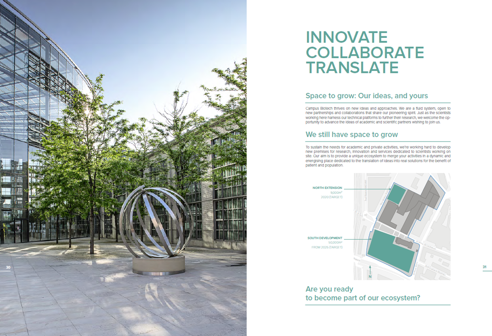 CAMPUS BIOTECH/AGENCE ZUPPINGER  Working with Swiss design agency, Agence Zuppinger, we created new content for Campus Biotech, Switzerland's leading neurological research park. By way of new interviews and re-purposed content, we turned around a new brochure in record time for an upcoming event.
