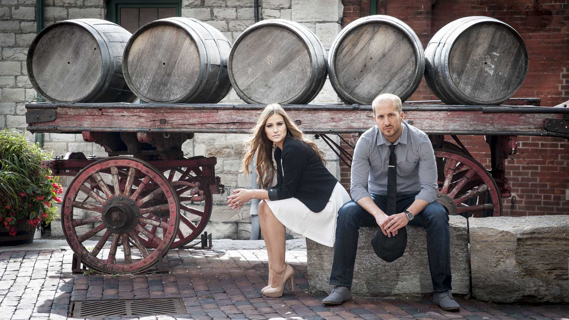 Distillery District Engagement Photo barrels