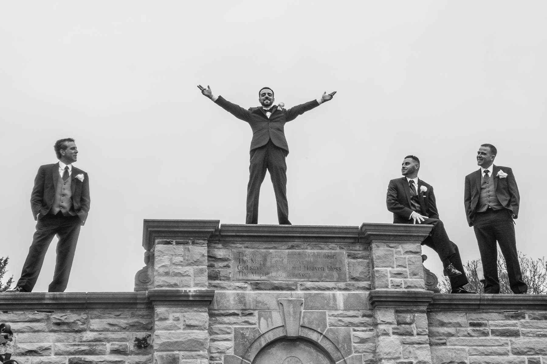 Groom on top of the world