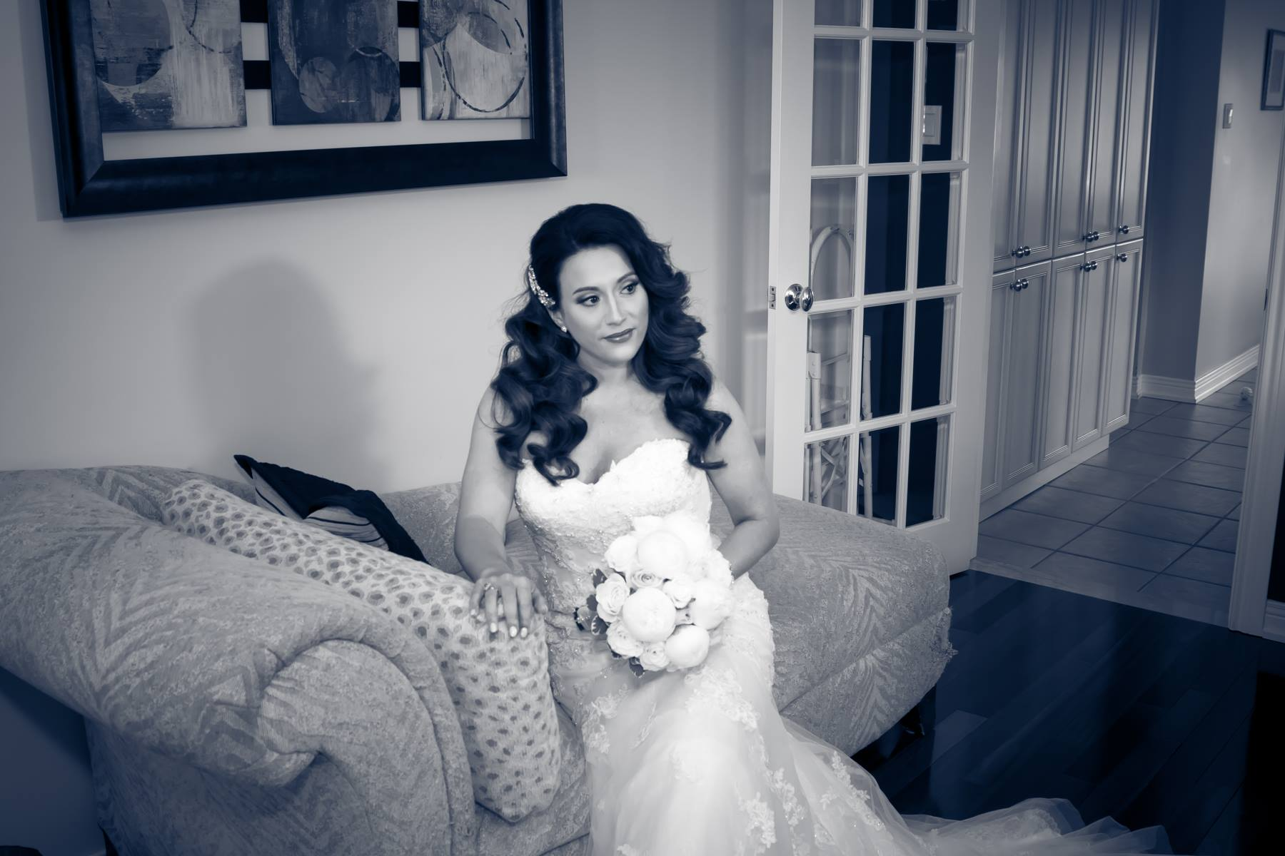 Bride on Divan in Black and White