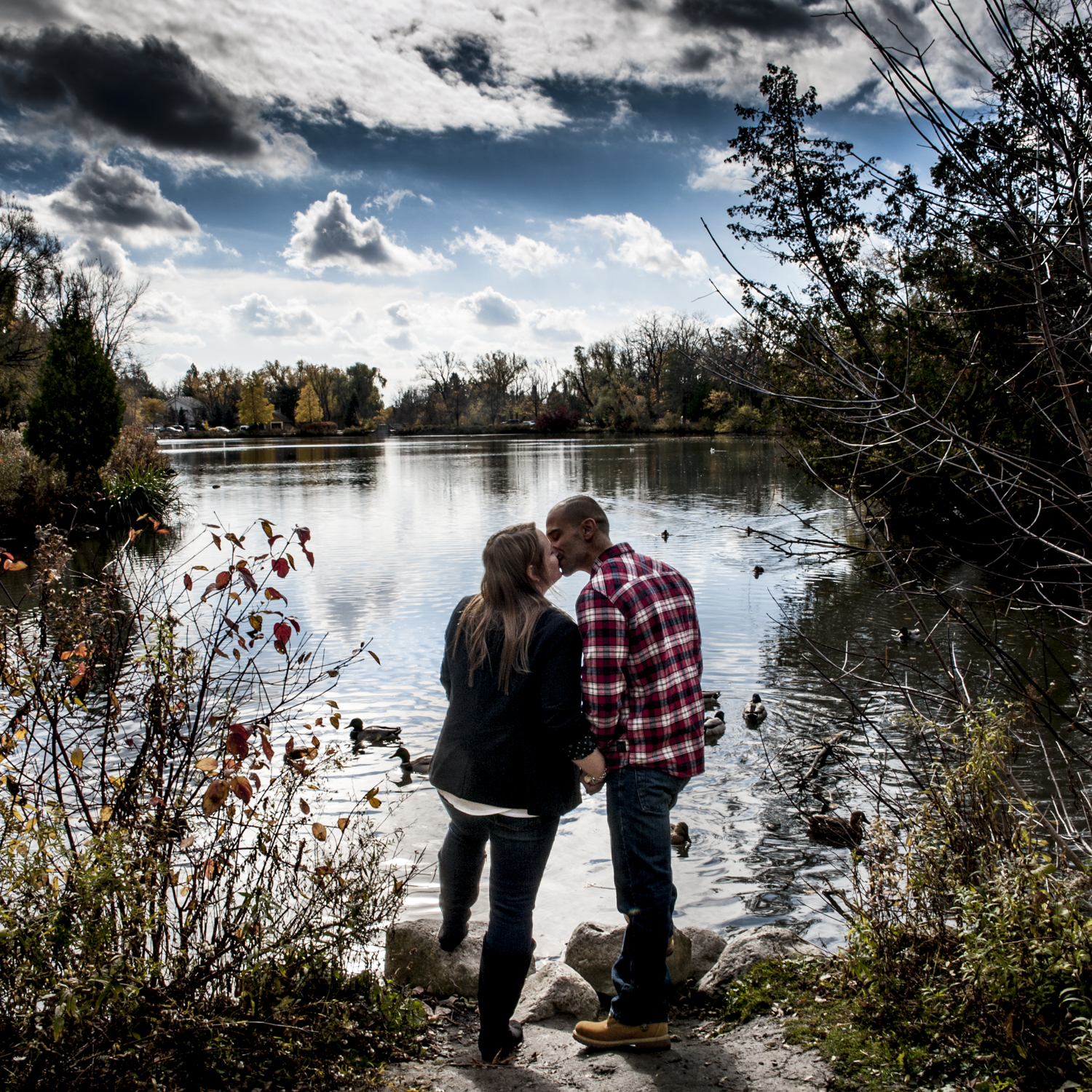 Mill Pond Engagement Photography with lake & ducks