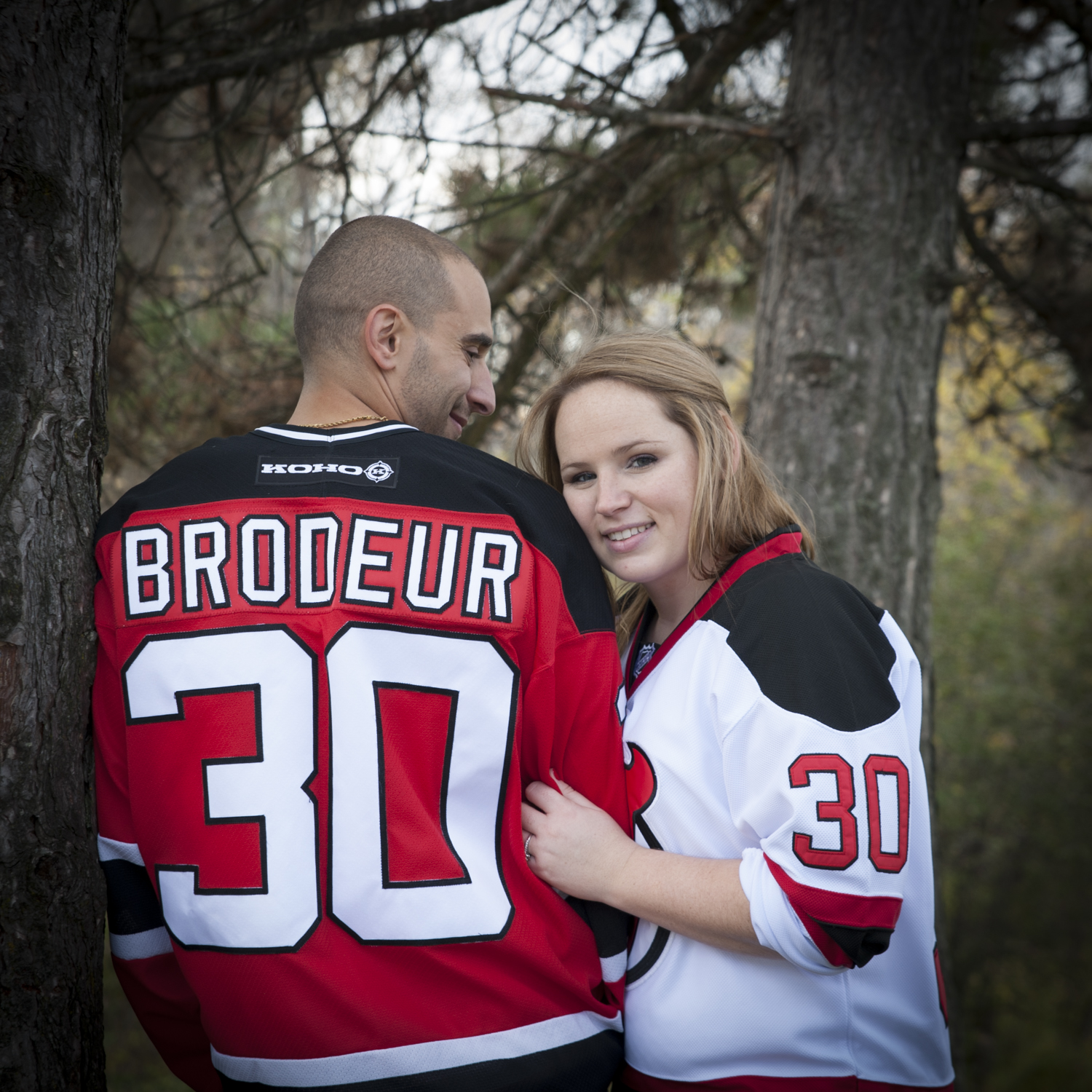 Engagement photo with Hockey Jerseys