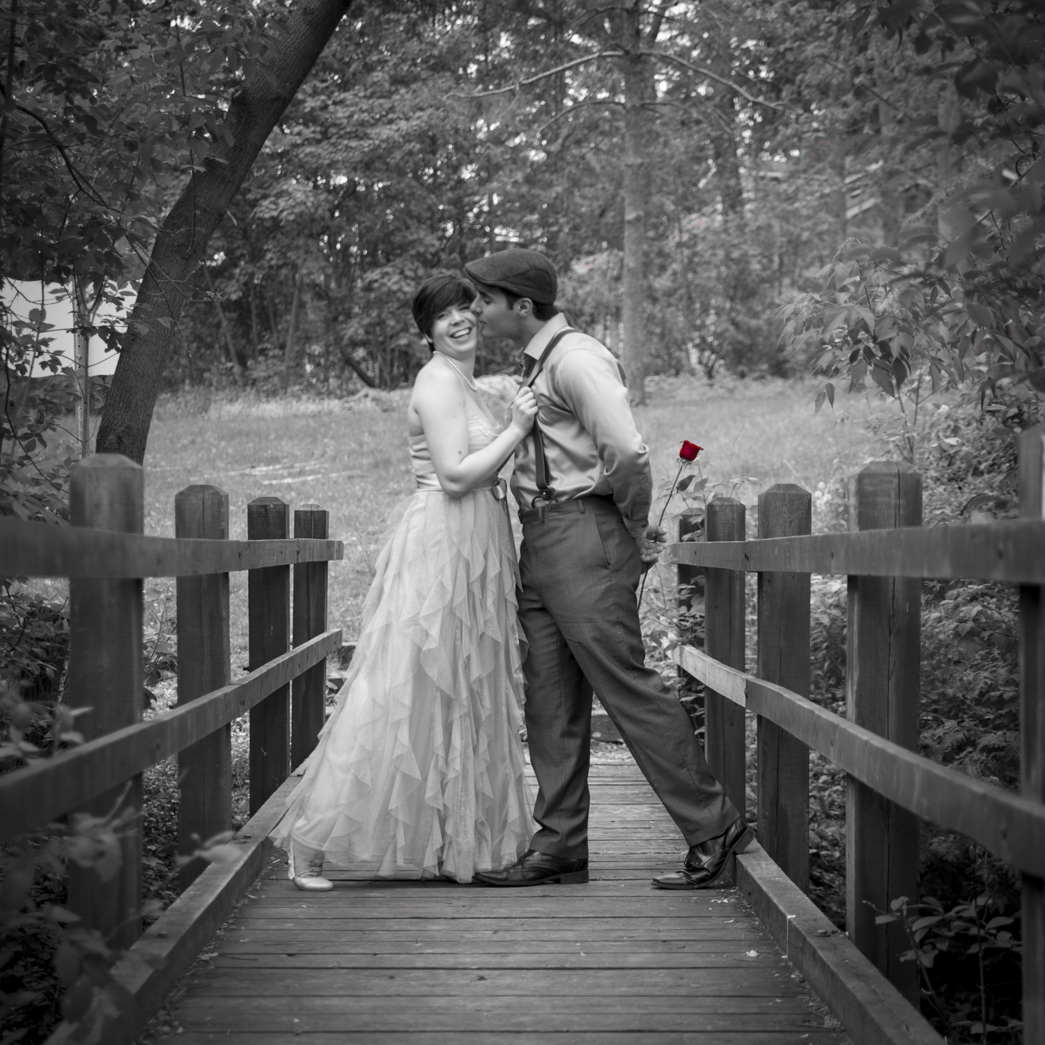 Fall Engagement Photo Black and White with colour