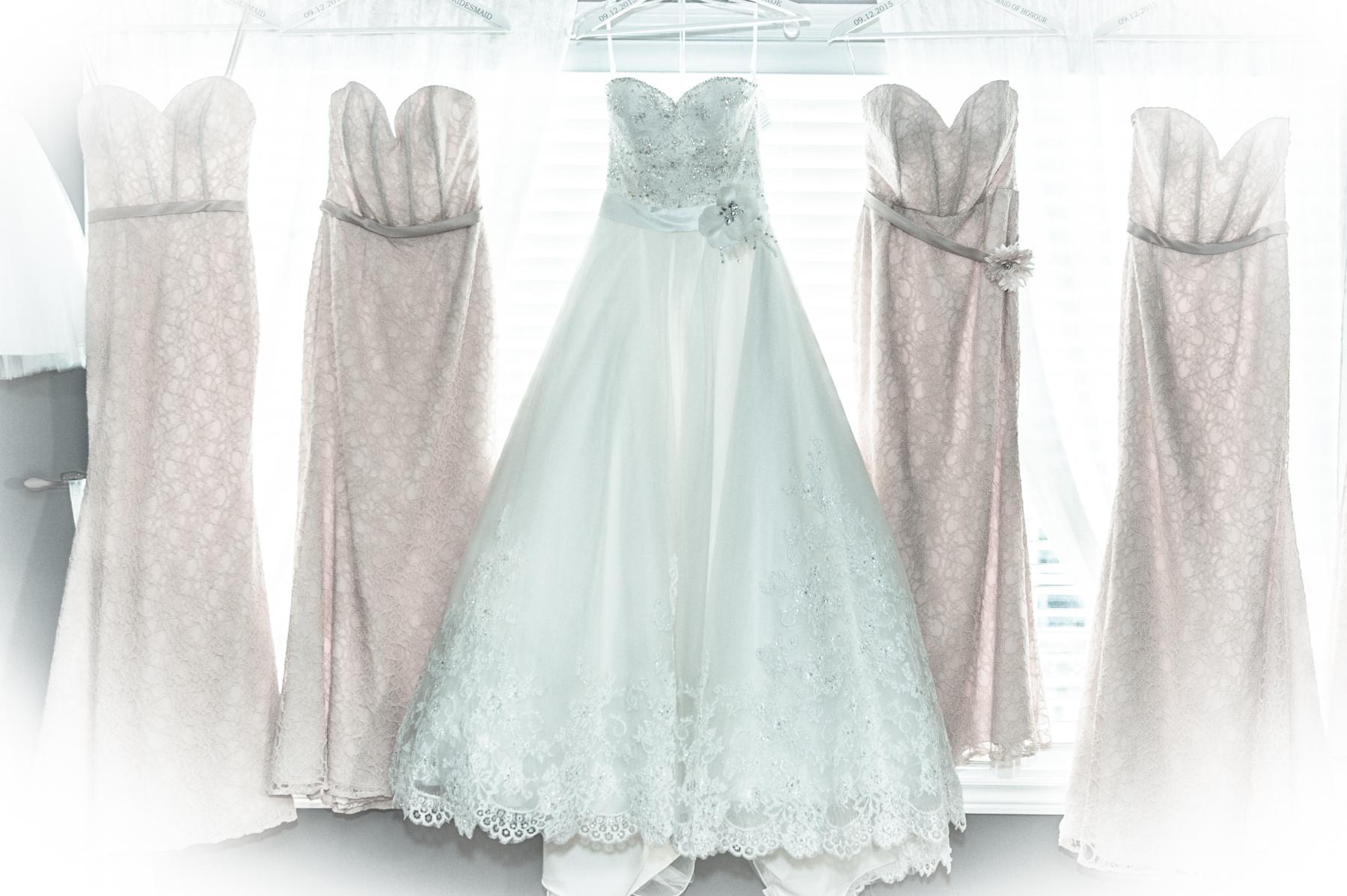 Bride dress and bridesmaid dressing
