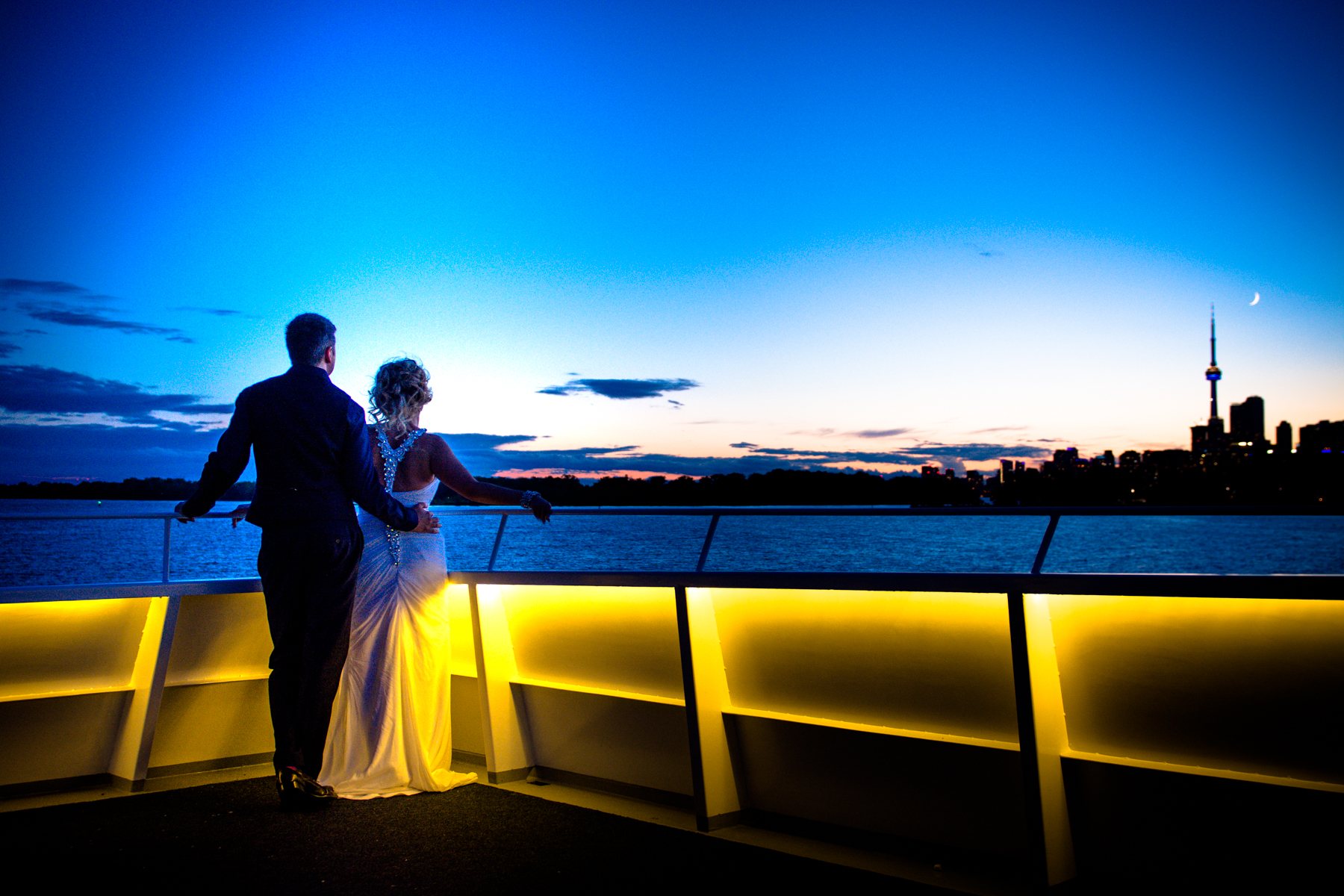 Married in the Toronto Harbour with a view of the Toronto CN Tower