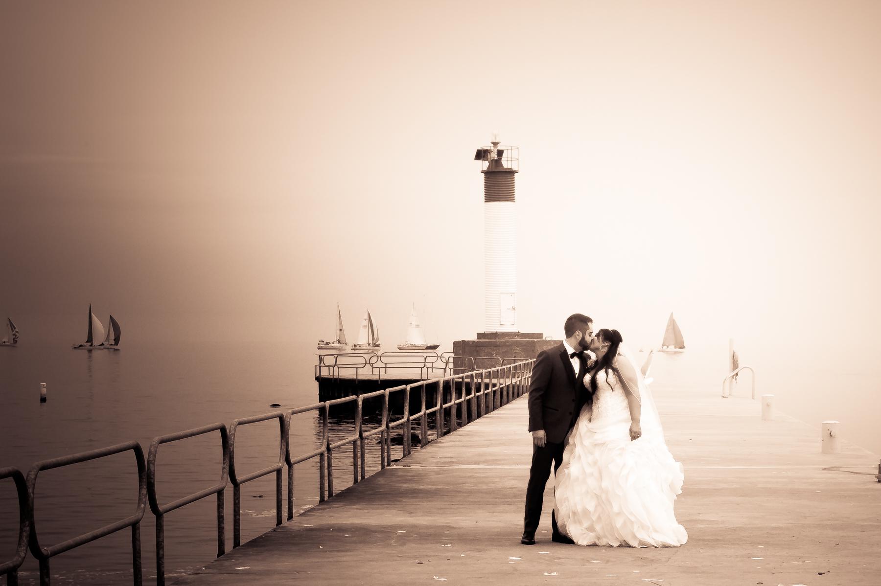 Romantic Fog wedding portrait shot in Oakville Ontario