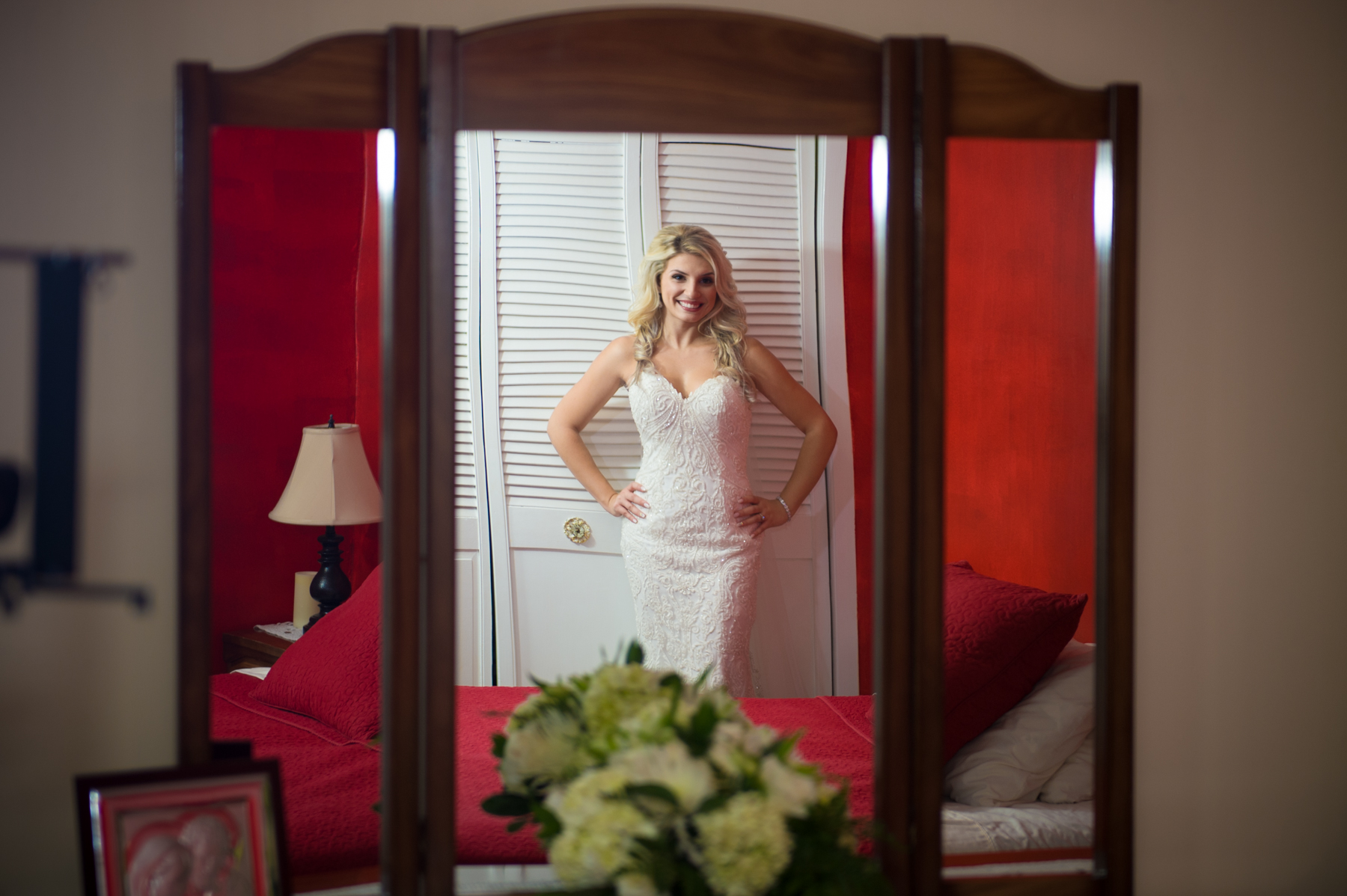 Blonde Portugues bride in mirror