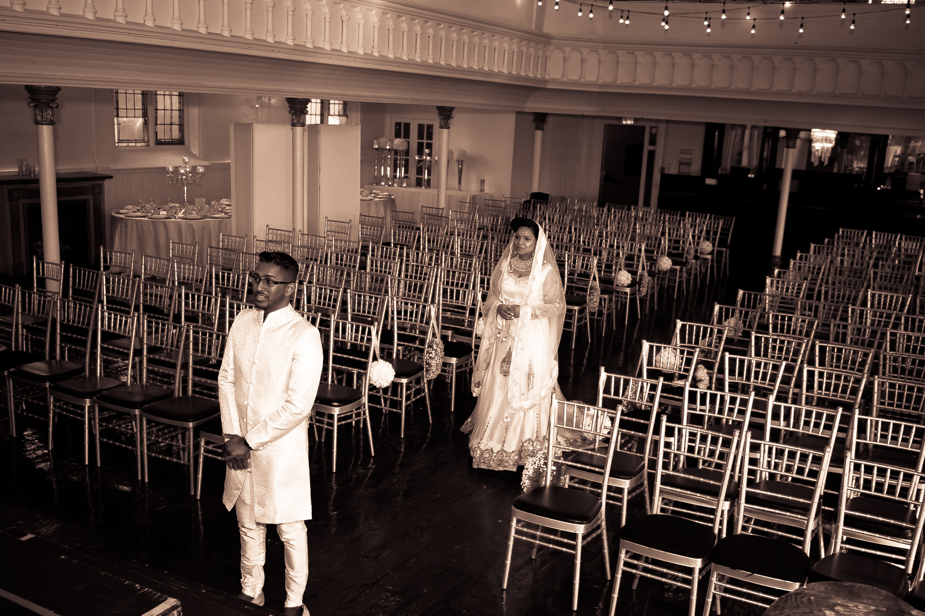 First look bride walking down aisle at '1871' Berkeley Church Event Venue