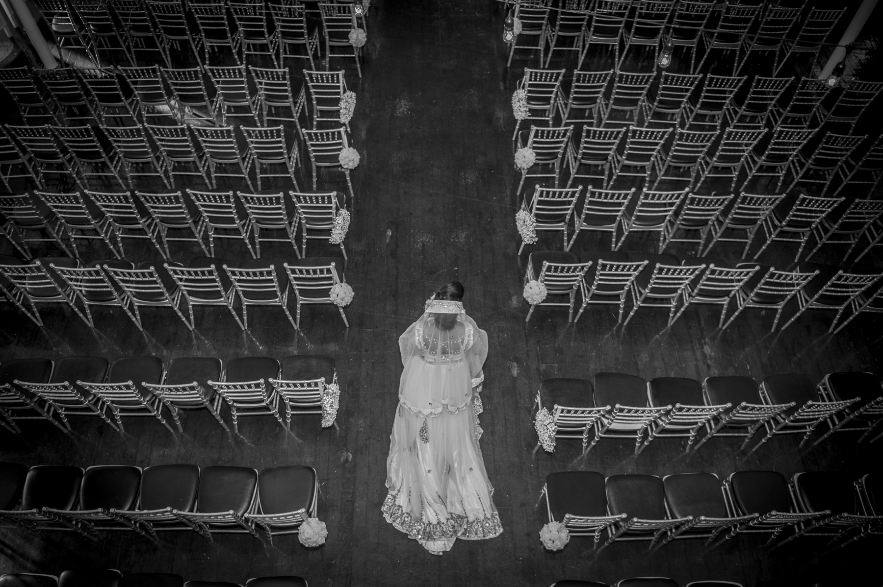 Bride walking down the aisle at '1871' Berkeley Church Event Venue