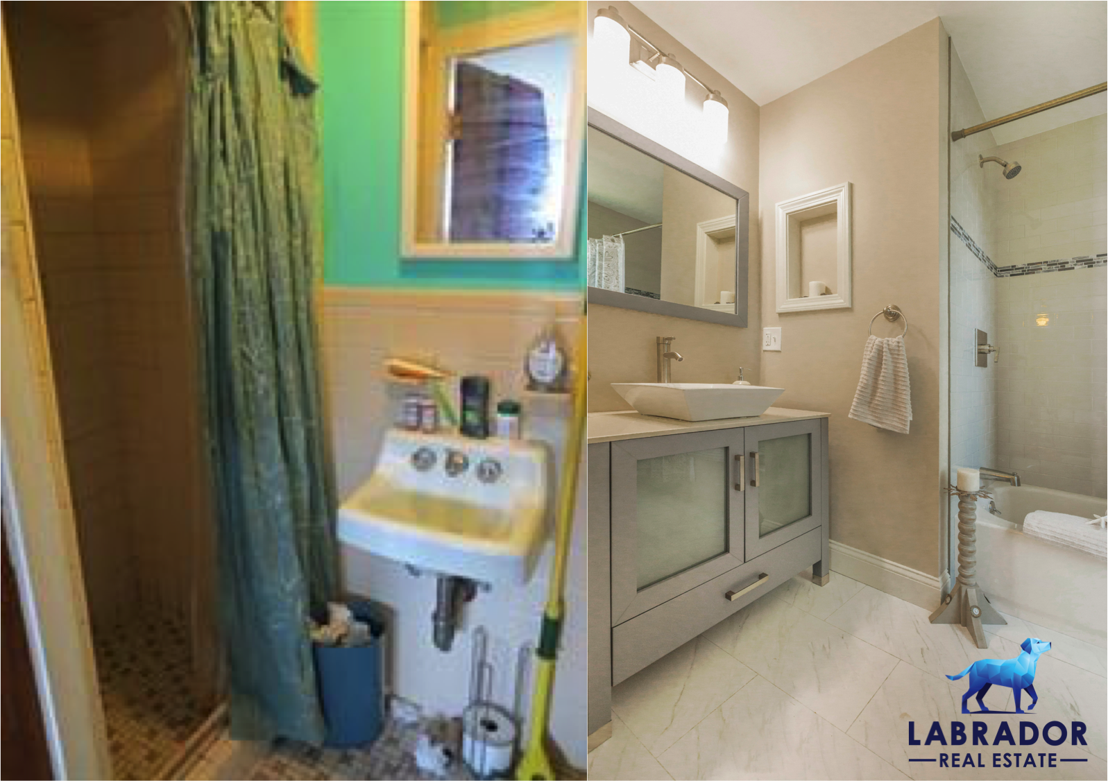 Two small bathrooms turned into a master bathroom and en-suite