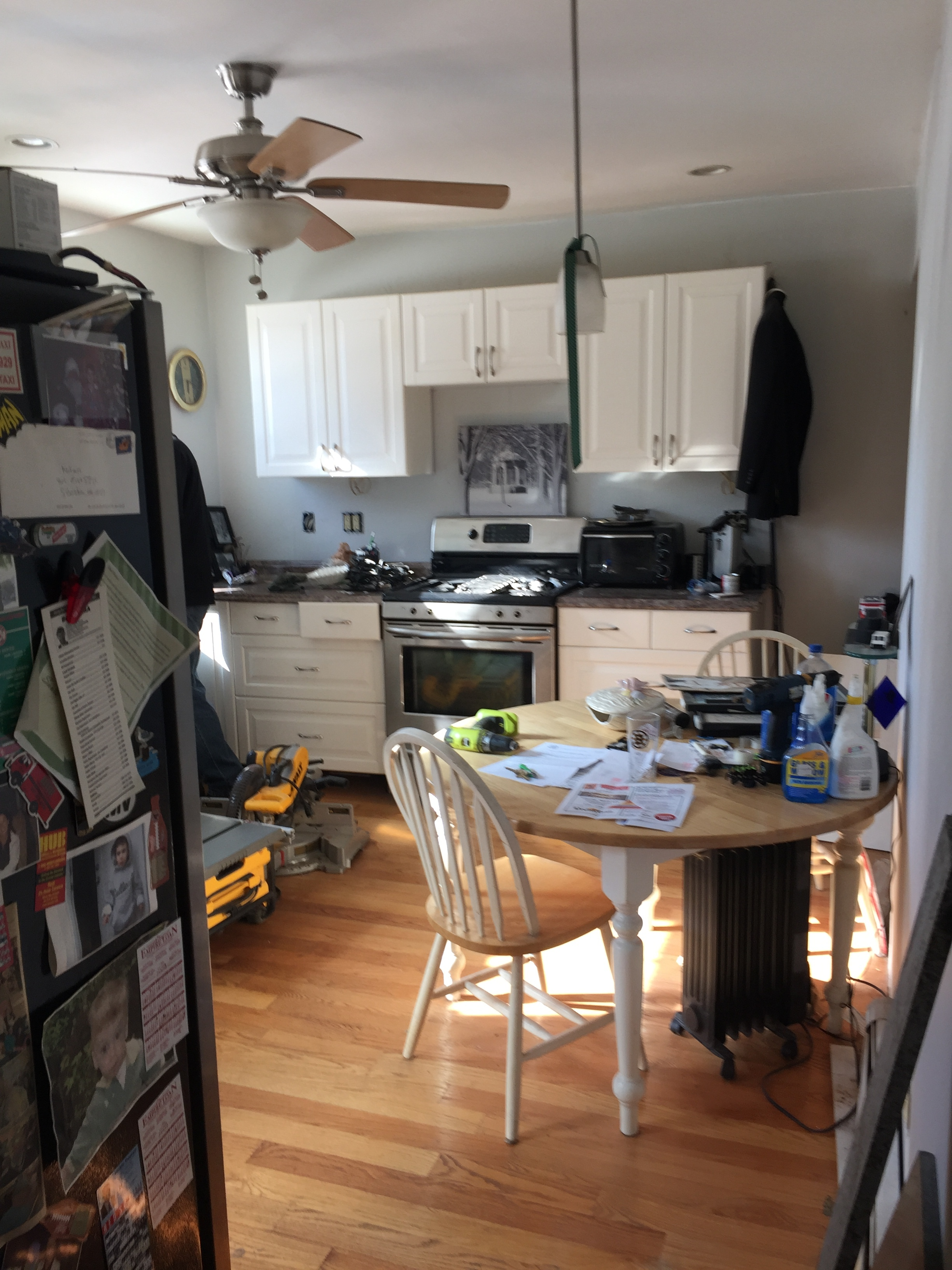 The cramped kitchen layout needs to be re-worked.