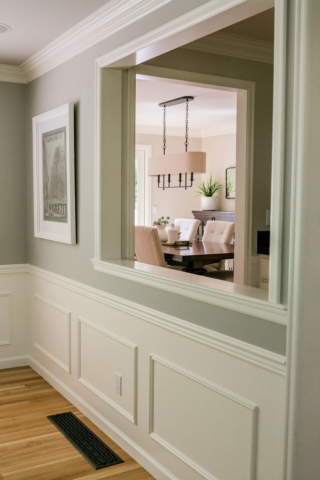 White millwork carried throughout home.