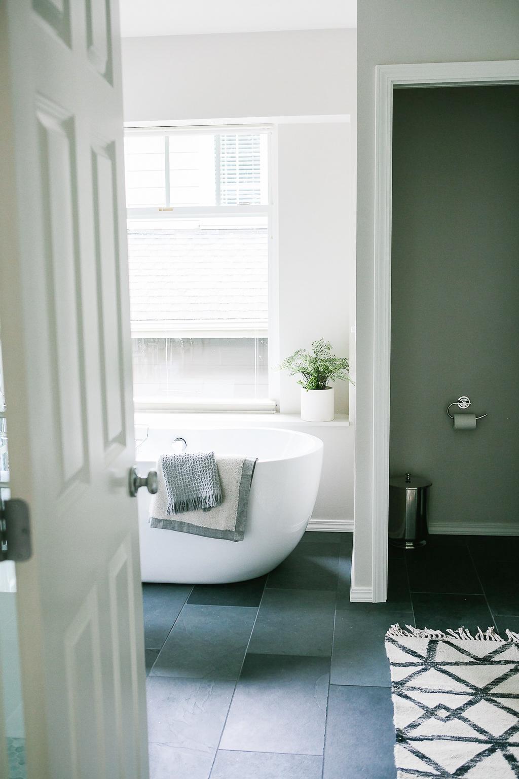 Master bathroom with slate floors.