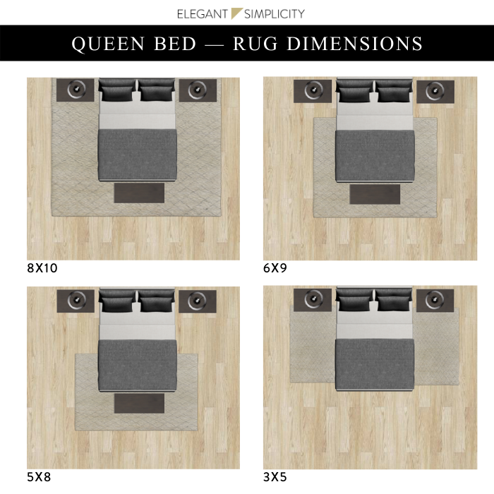 Placing A Rug Under Your Bed, What Size Rug Do You Need For A Queen Bed
