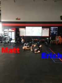 Matt & Erich after their marathon row preparing for the Ironman