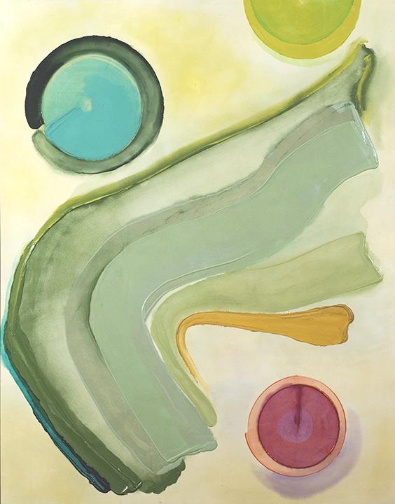 "PATHWAYS, 1980, Acrylic on canvas, 81. 1/2""x 64"""