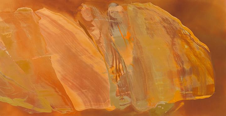 "ORANGE INTENT, 1984, A crylic on canvas, 58""x 109"""