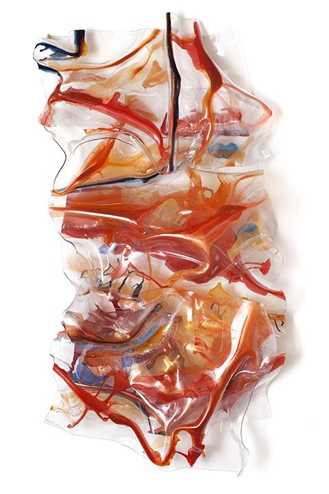 """SILK ROUTE, 2011, A crylic on Lexan, 61"""" x 30"""" x 10"""""""
