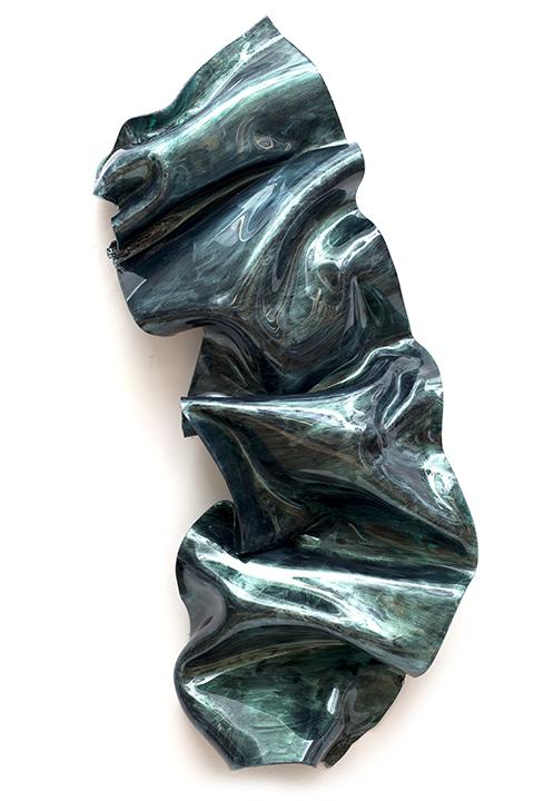 "GREEN VENUS, 2011, a crylic on Lexan, 33"" x 14"" x 5"""