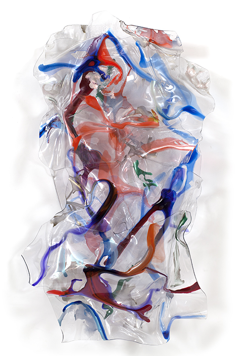 "SILK ROAD, 2008, a crylic on Lexan, 69"" x 32"" x 10"""