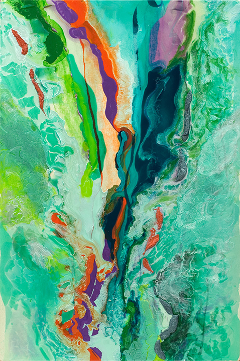 """RUSHING RIVER, Acrylic on canvas, 2003, 78"""" x 52"""""""