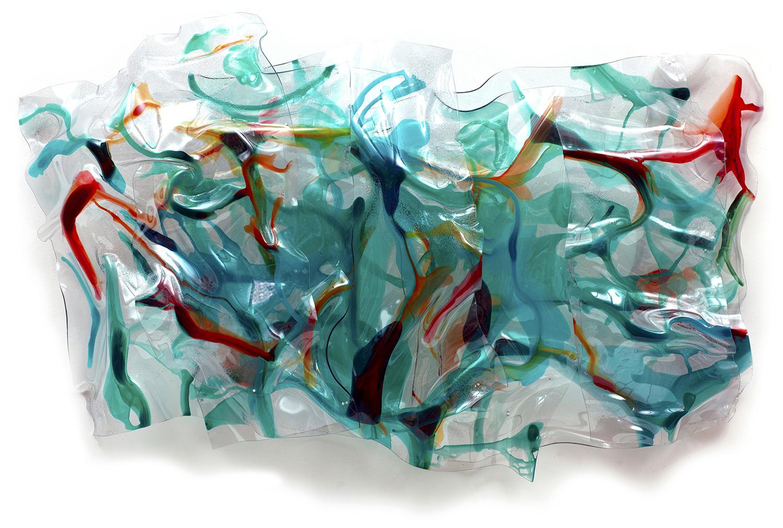"GREEN RIVER, Acrylic on Lexan, 2016, 62"" x 32"" x 10"""