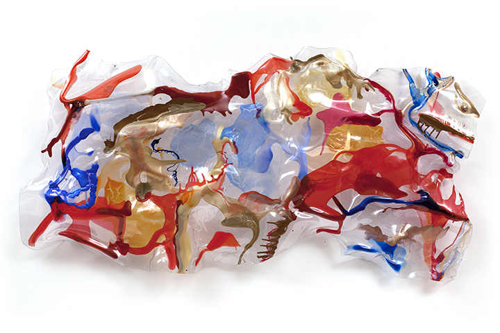 "RED DRAGON, 2013, Acrylic on Lexan, 48"" x 96"" x 10"""