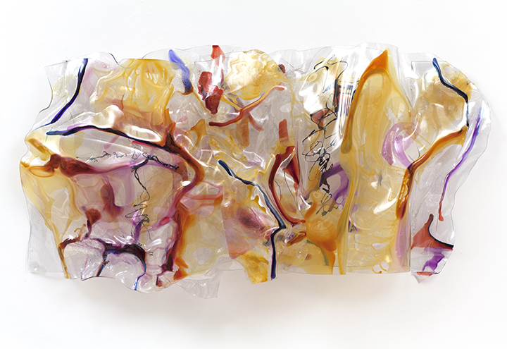 "ENCODEMENT, 2012, Acrylic on Lexan, 33"" x 62"" x 10"""