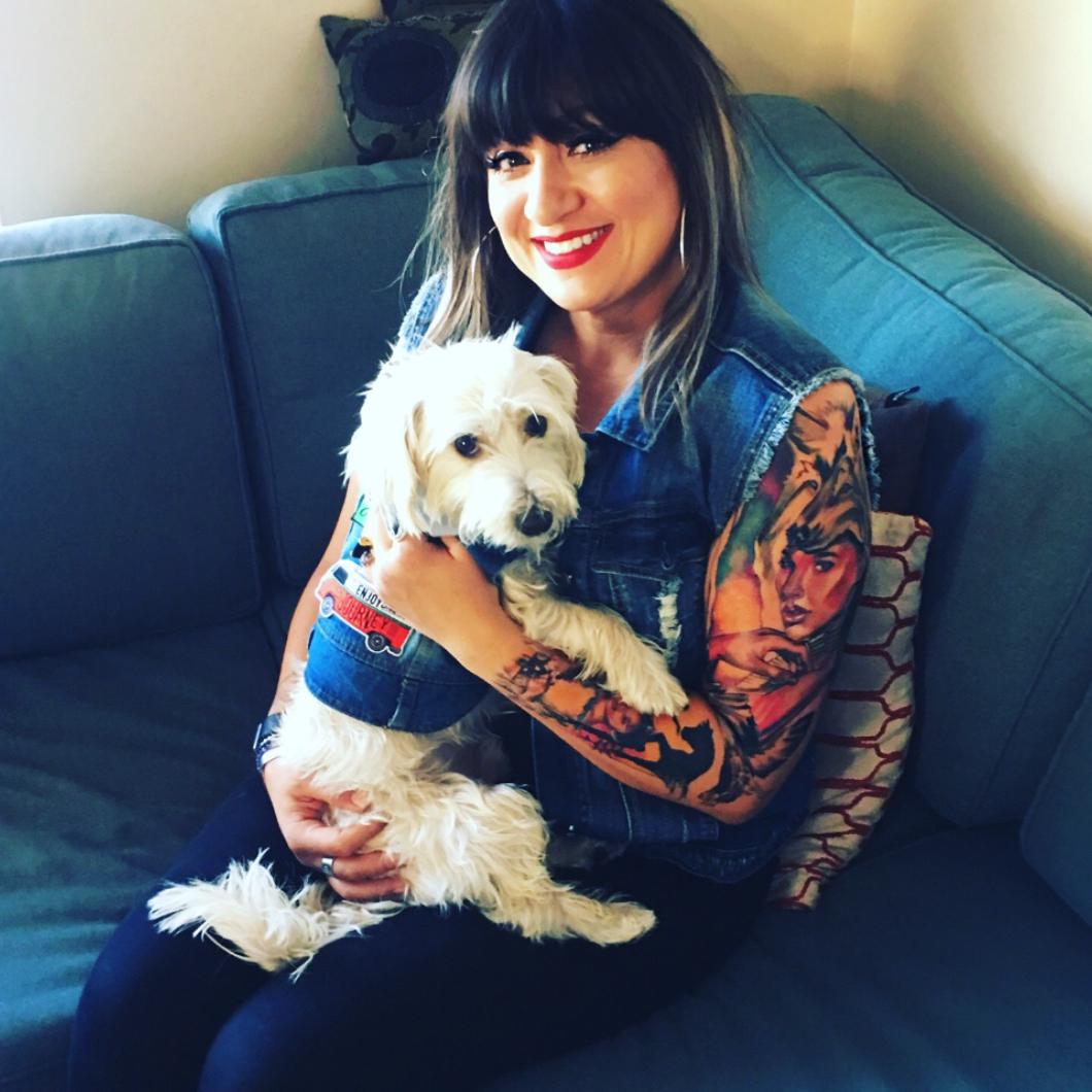Felicia and her rescue dog, Skipper