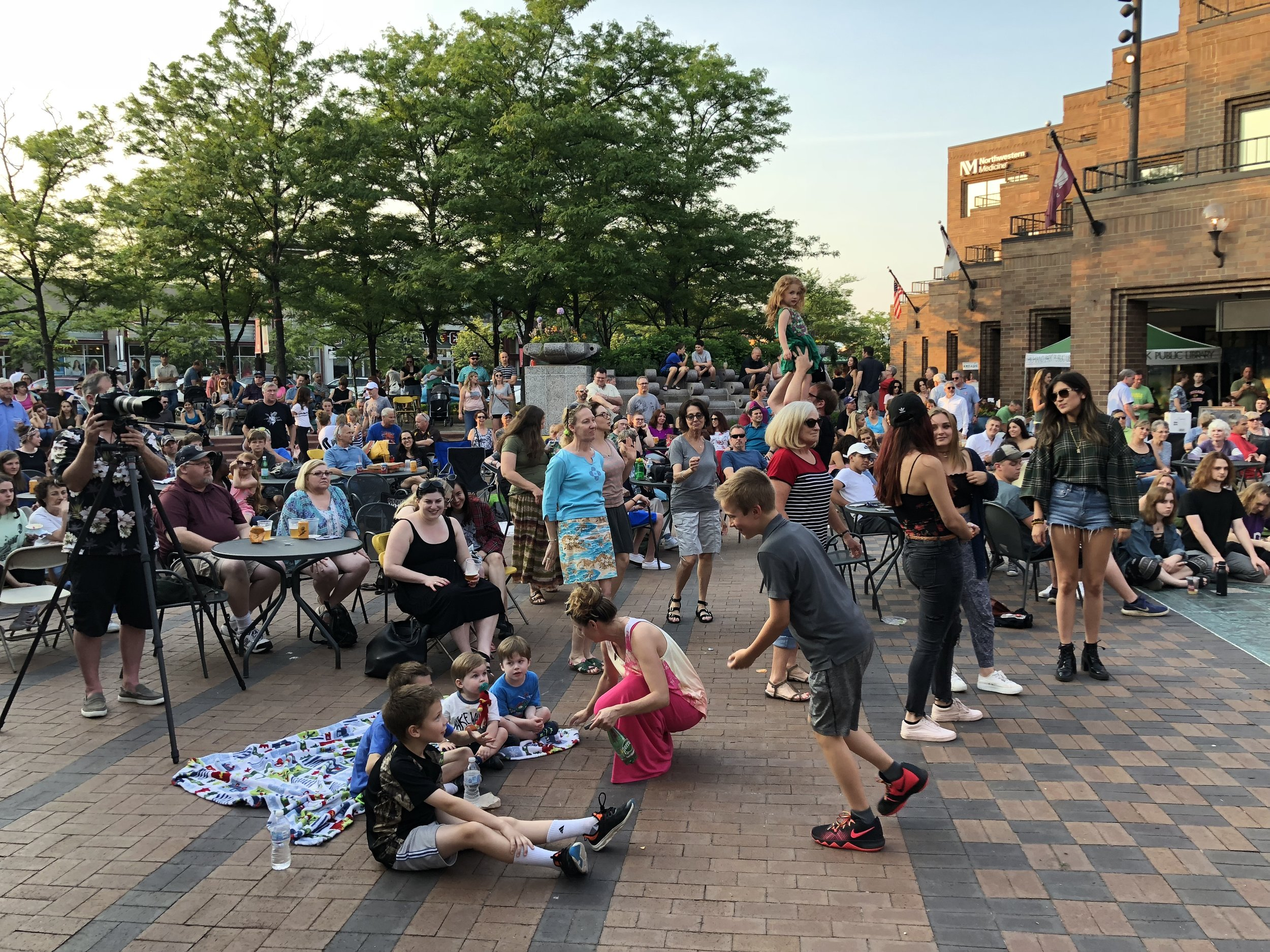 The crowd enjoys the tunes at the 2018 Bitter Jester Music Festival in downtown Highland Park, IL.