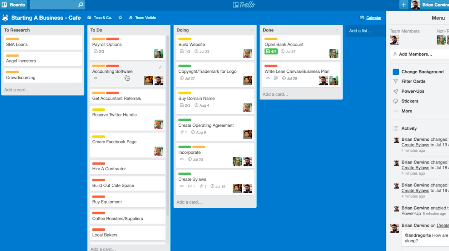 A sample team Trello board from Brian Cervino's Skillshare class,  Productivity & Time Management: Get More Done.
