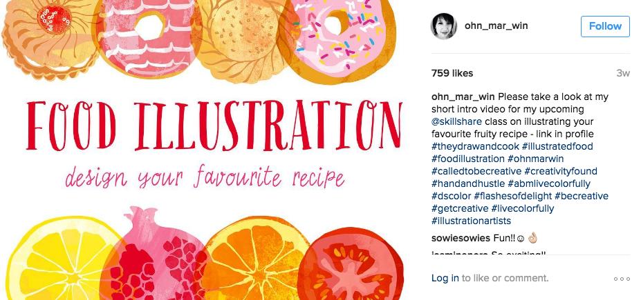 Teela Cunningham uses her Instagram account to market her Skillshare classes