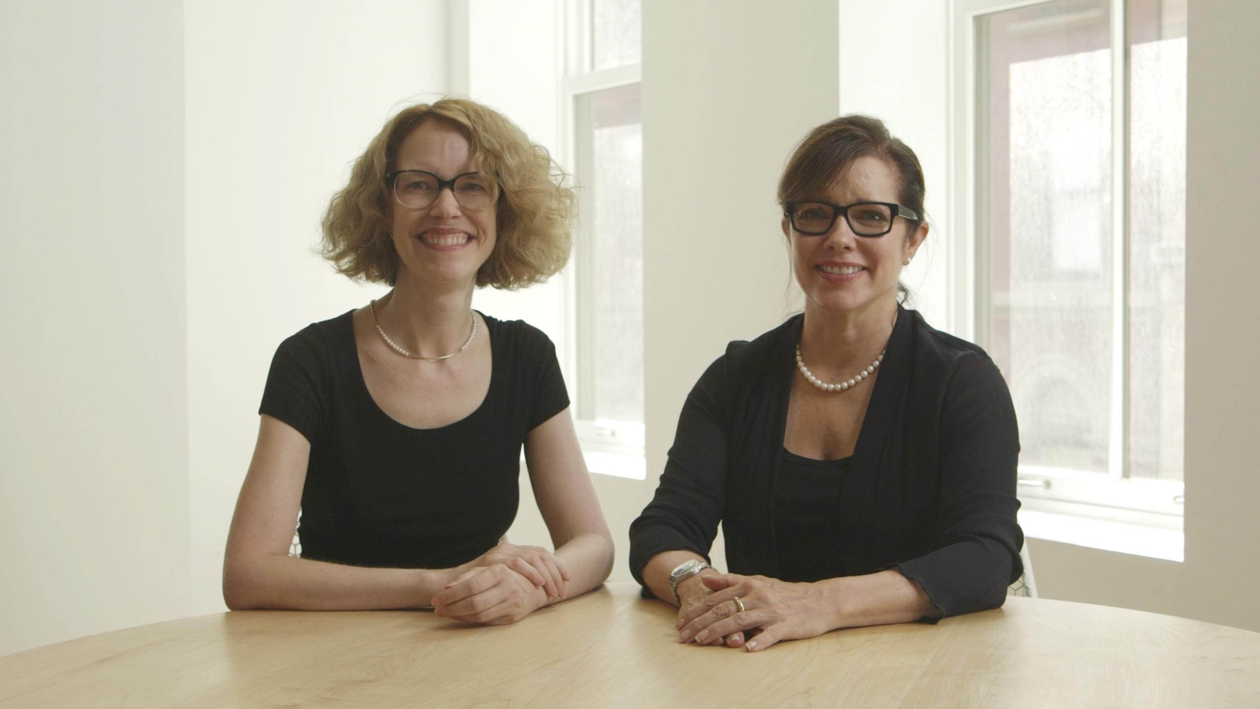 Ellen and Jennifer in their new Skillshare class, Graphic Design Basics: Core Principles for Visual Design .