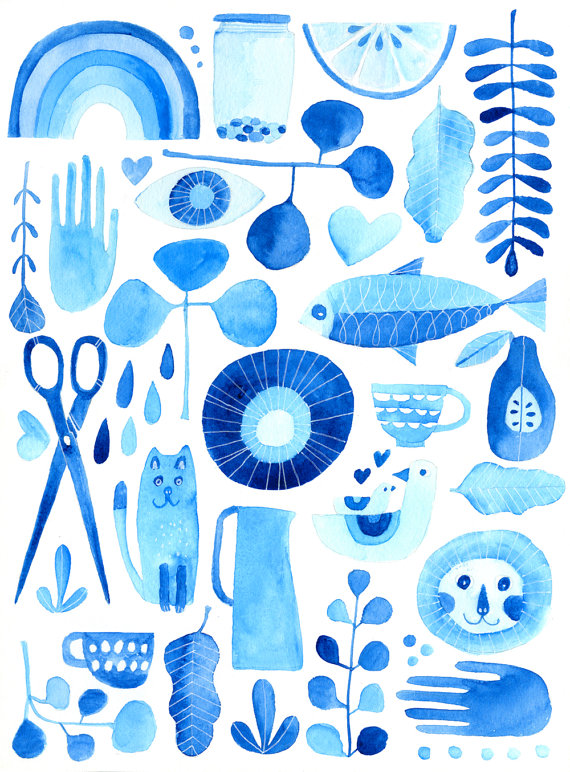 This is an illustration by Lisa Congdon from her latest project, Experiments in Blue.
