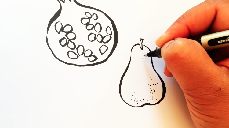 Picture of Ohn Mar Win drawing a food illustration