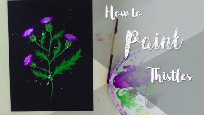 Paint beautiful acrylic thistle flowers with  Anna .