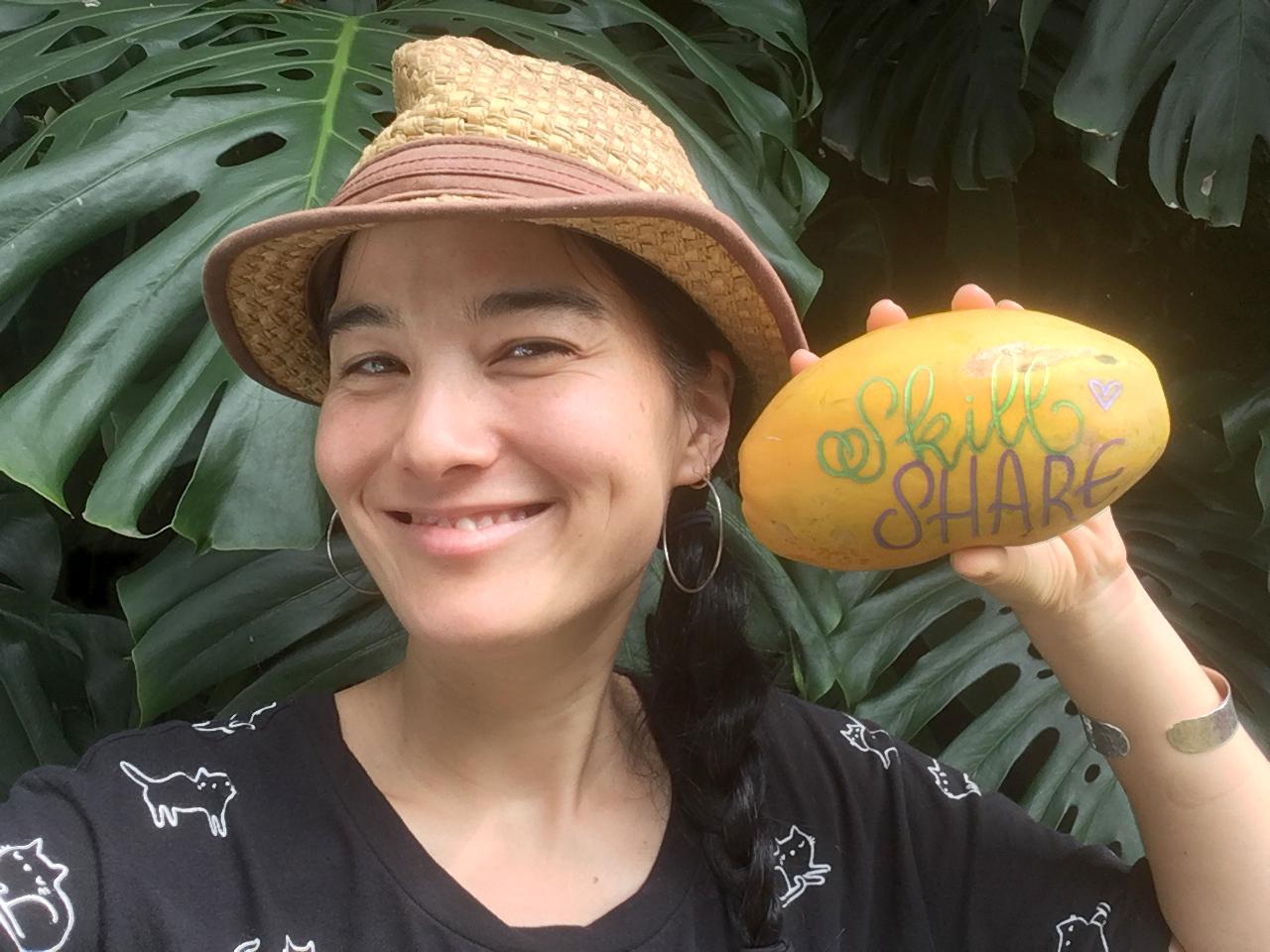 Keiko with a very special papaya!