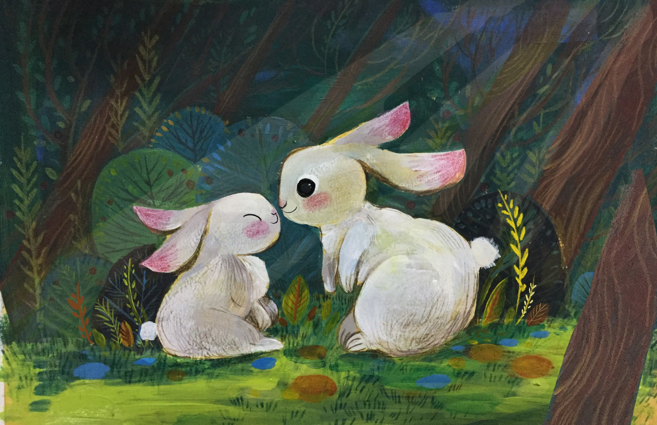 Image: bunny, I love you (acrylic, color pencil) by Dream Chen