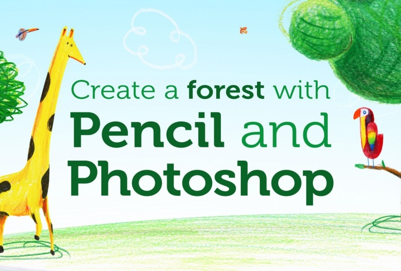 Compose a traditional illustration digitally as  Rodrigo  shares his process for creating a forest scene using pencil and Photoshop.