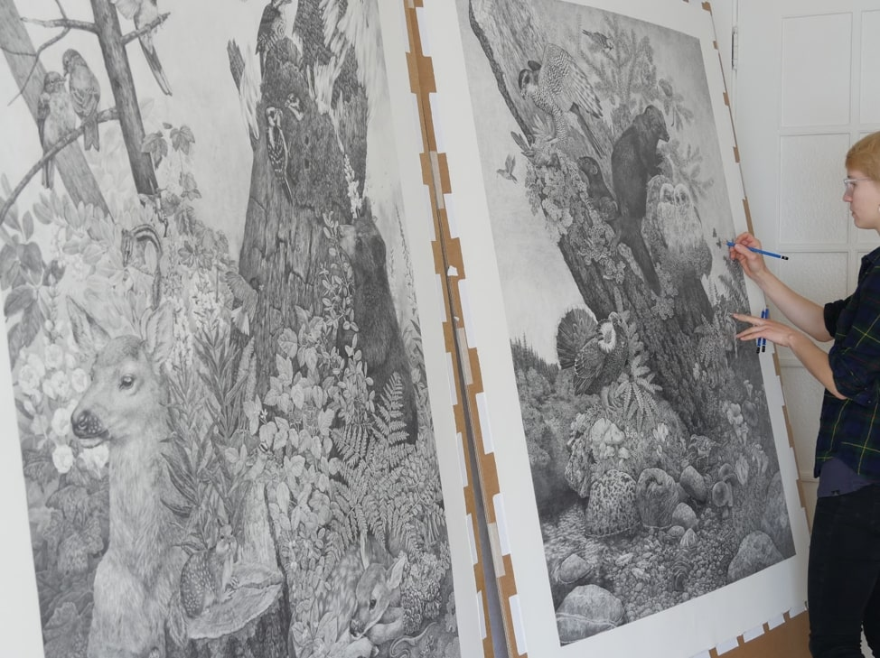 In the studio with 'Old Growth' and 'Postfire' © Zoe Keller