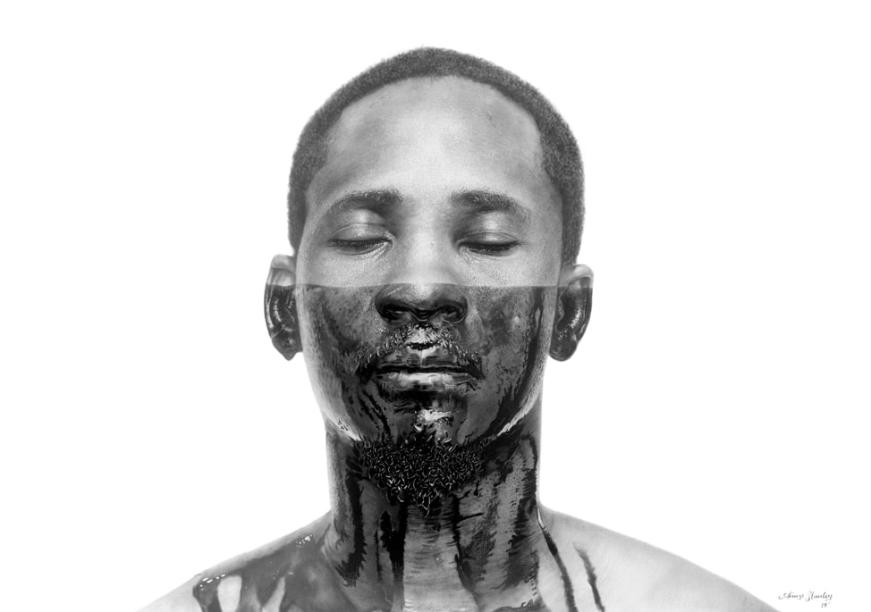 'The Machine Man 4' (graphite and charcoal on paper, 70x100 cm, 2019) © Arinze Stanley