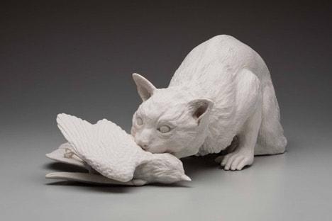 "Kate MacDowell. Feral (19""x11""x8"", hand built porcelain and glaze, 5/2019) Photo: Dan Kvitka"