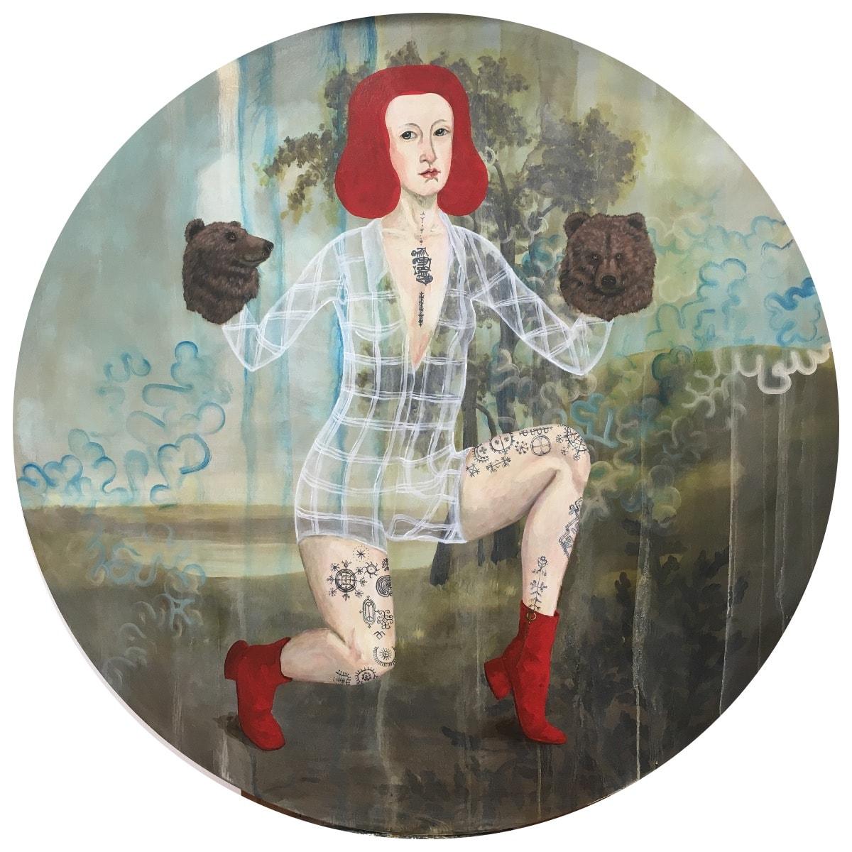 "'Bear Lady' (48"" diameter, 2019, acrylic on panel) © Anne Siems"