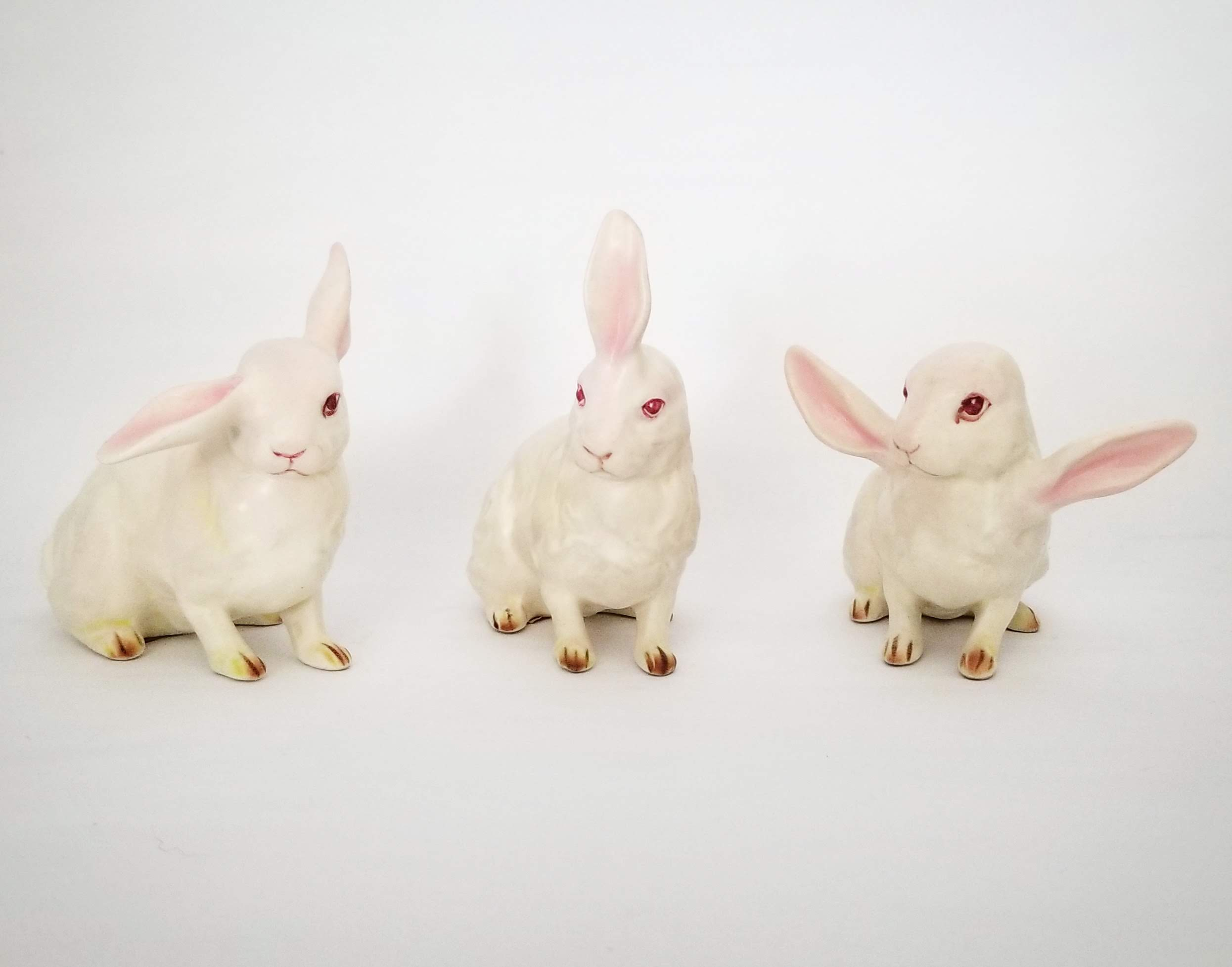 'White Rabbits' (3 x 4 x 2 inches each, secondhand ceramics and mixed media, 2019) by Debra Broz