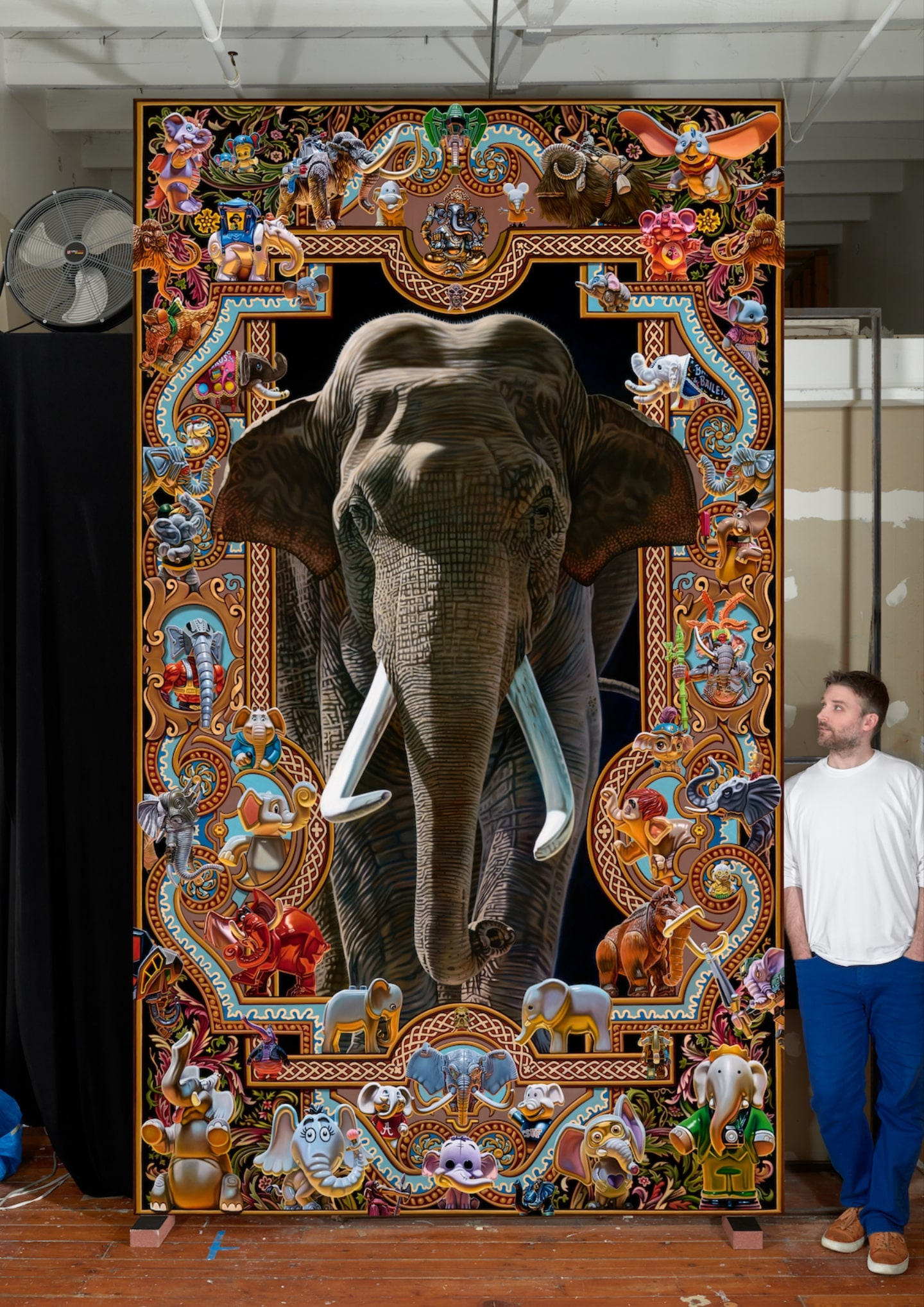 "'Elephantidae' (studio image, oil on canvas, 144"" x 84"", 2019) by Robert Xavier Burden. Photo by John Janca"