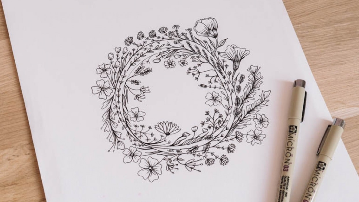 Image by Skillshare student Marielle H. for Top Teacher Peggy Dean's class,    Botanical Line Drawing