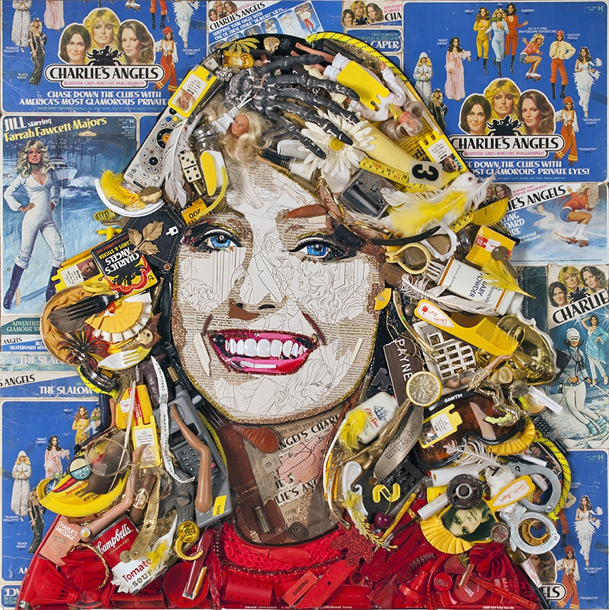 Jill (Charlie's Angels) • Toy packaging, doll and doll parts, feathers, trading cards, film, 2014 by Jason Mecier