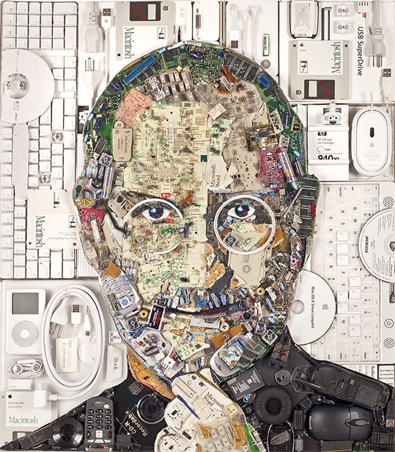 Steve Jobs • Computer products, circuit boards, electronic items, e-waste, peace symbol, 2014 by Jason Mecier
