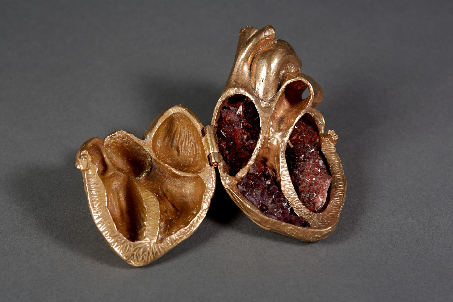 Heart of Gold (Bronze, Thunder Bay amethyst 3in x3.5in x5.75) by Debra Baxter. Photo: Kim Richardson